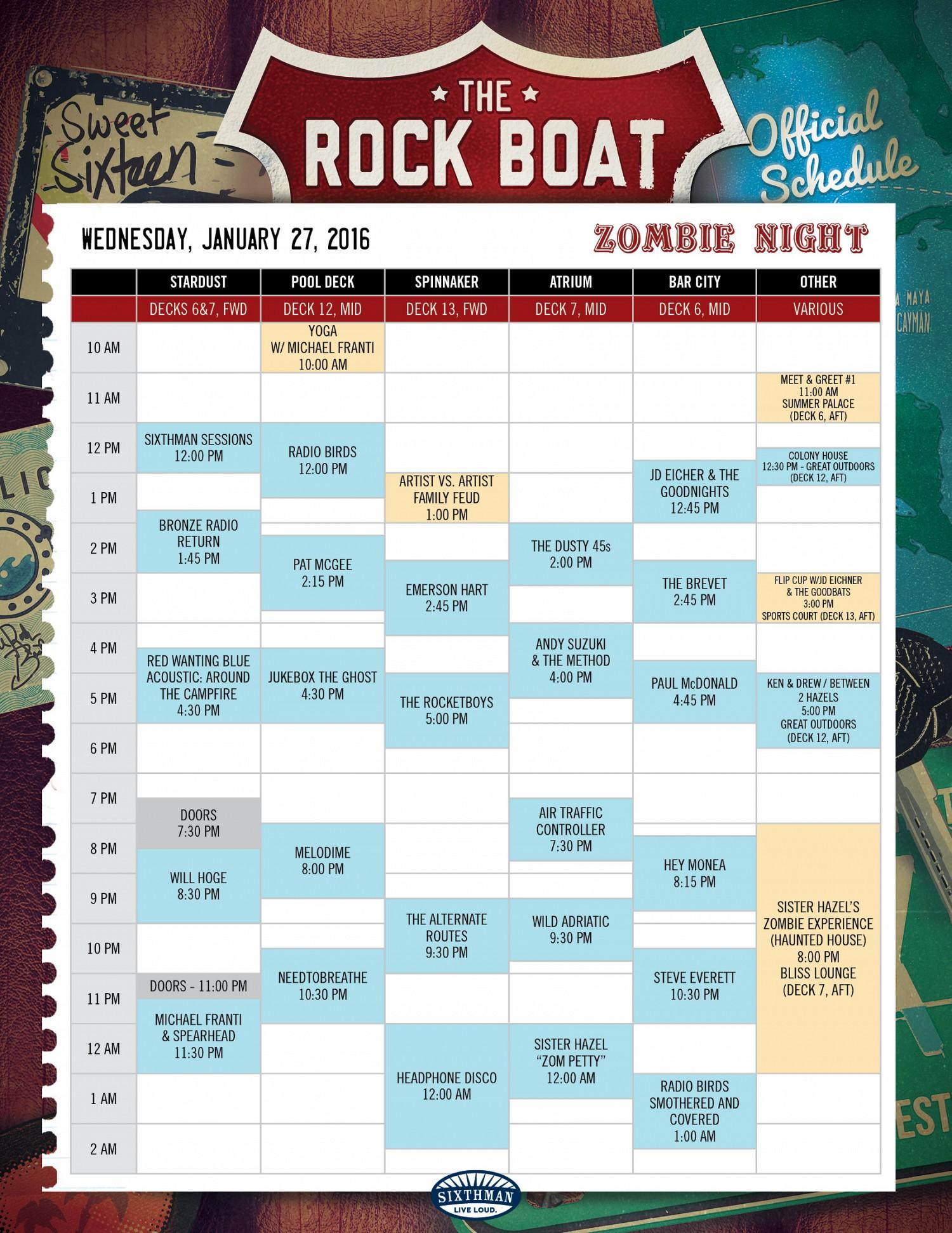 The Rock Boat Schedule