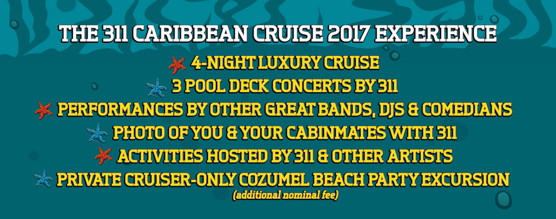 What's included on 311 Caribbean Cruise